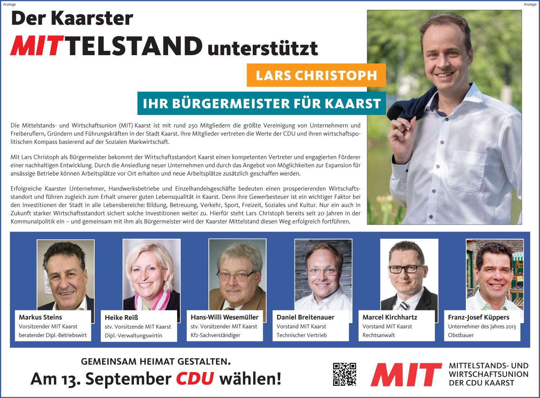 Der Kaarster Mittelstand unterstützt Lars Christoph
